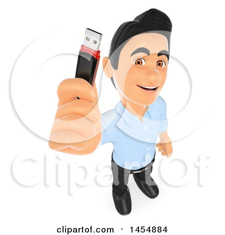 Clipart Graphic of a 3d Man Holding up a Usb Memory Stick, on a White Background - Royalty Free Illustration by Texelart