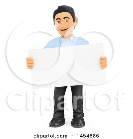 Clipart Graphic of a 3d Man Holding a Business Card, on a White Background - Royalty Free Illustration by Texelart