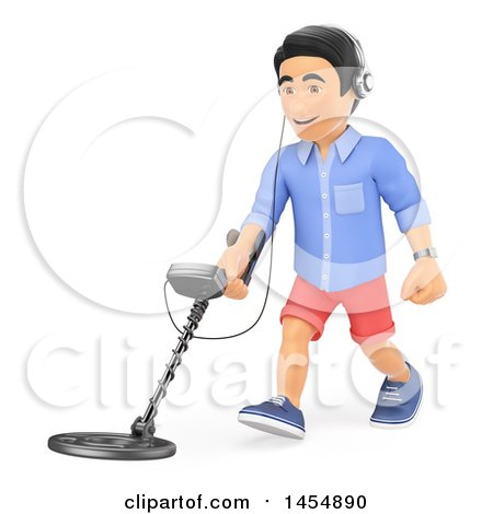 Clipart Graphic of a 3d Man Using a Metal Detector, on a White Background - Royalty Free Illustration by Texelart