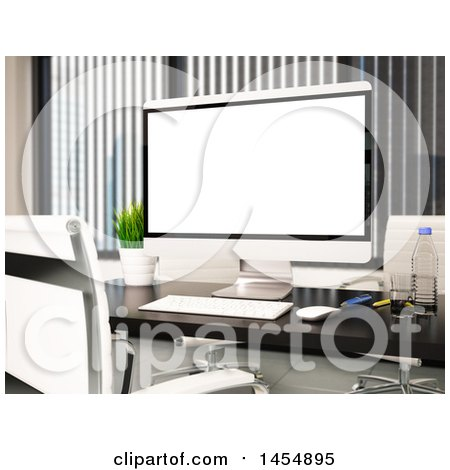 Clipart Graphic of a 3d Desktop Computer in an Office - Royalty Free Illustration by Texelart