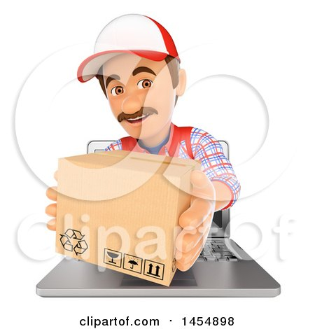Clipart Graphic of a 3d Delivery Man Emerging from a Computer Screen and Holding out a Box, on a White Background - Royalty Free Illustration by Texelart