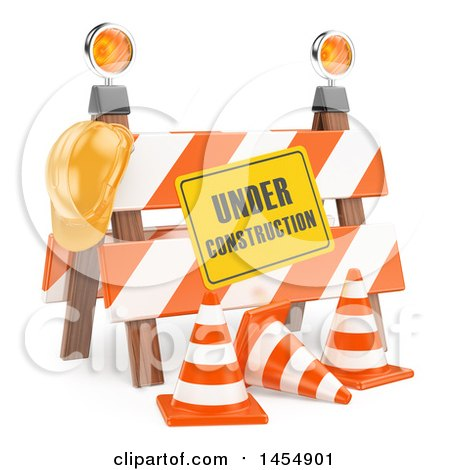 Clipart Graphic of a 3d Under Construction Barrier, on a White Background - Royalty Free Illustration by Texelart
