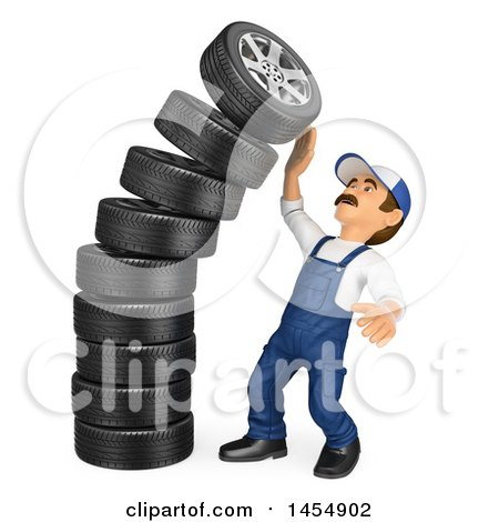 Clipart Graphic of a 3d Man Mechanic by a Falling Stack of Tires, on a White Background - Royalty Free Illustration by Texelart