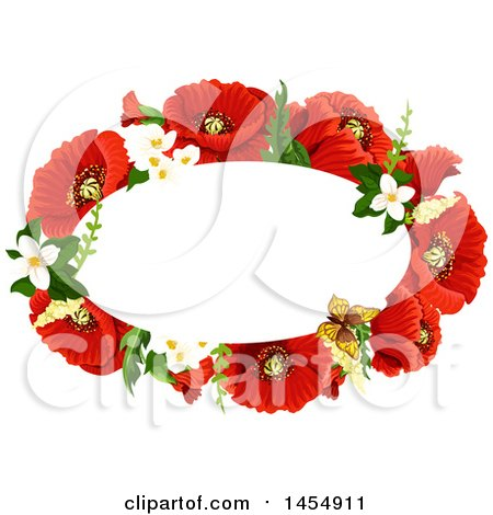 Clipart of a Red Poppy Flower Design Element - Royalty Free Vector Illustration by Vector Tradition SM