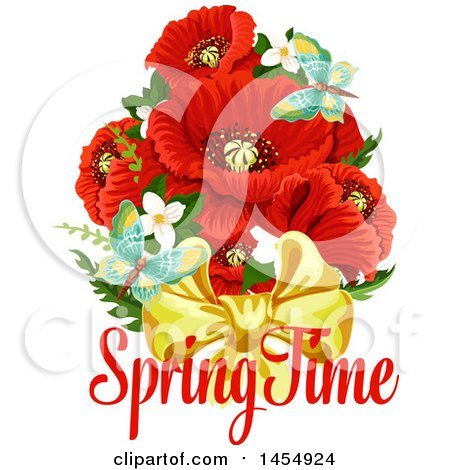 Clipart of a Red Poppy Flower Spring Time Season Design Element - Royalty Free Vector Illustration by Vector Tradition SM