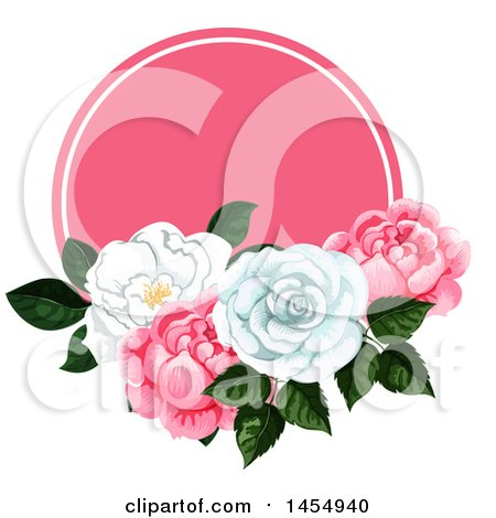 Clipart of a White and Pink Rose Flower Design Element - Royalty Free Vector Illustration by Vector Tradition SM