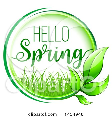 Clipart of a Green Leaf and Hello Spring Design Element - Royalty Free Vector Illustration by Vector Tradition SM