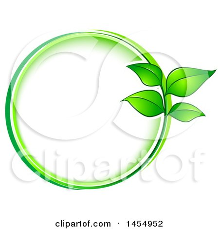 Clipart of a Green Leaf Frame Eco Design Element - Royalty Free Vector Illustration by Vector Tradition SM