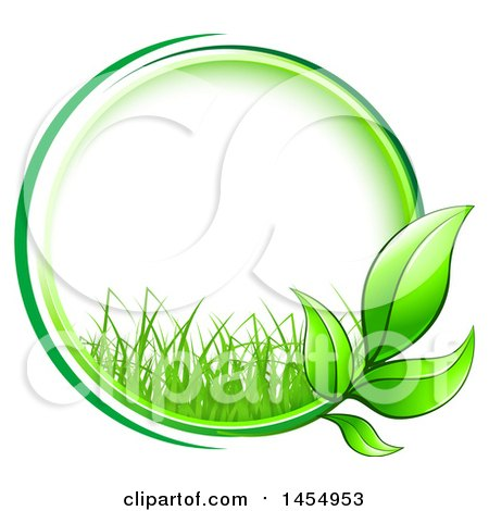Clipart of a Green Leaf and Grass Frame Eco Design Element - Royalty Free Vector Illustration by Vector Tradition SM