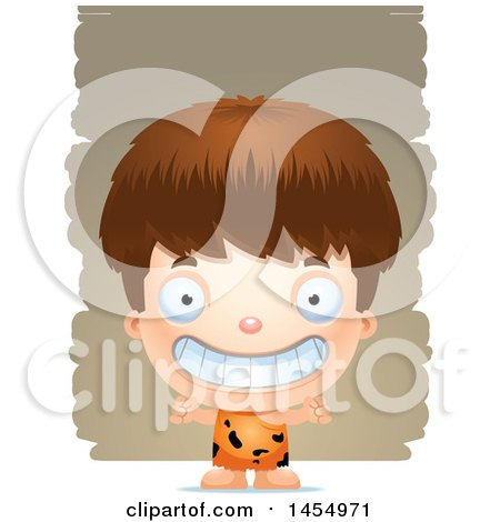 Clipart Graphic of a 3d Grinning White Caveman Boy over Strokes - Royalty Free Vector Illustration by Cory Thoman