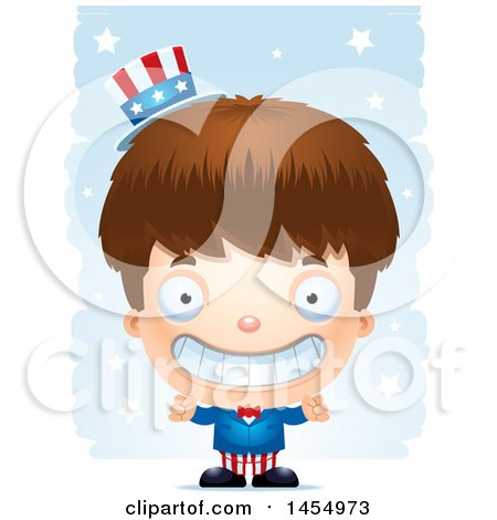 Clipart Graphic of a 3d Grinning White American Uncle Sam Boy Against Strokes - Royalty Free Vector Illustration by Cory Thoman