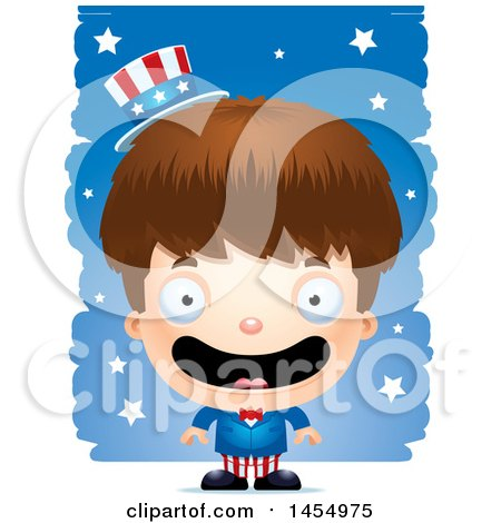 Clipart Graphic of a 3d Happy White American Uncle Sam Boy Against Strokes - Royalty Free Vector Illustration by Cory Thoman