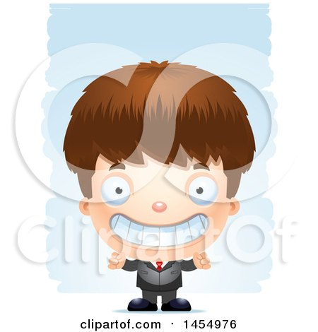 Clipart Graphic of a 3d Grinning White Business Boy Against Strokes - Royalty Free Vector Illustration by Cory Thoman