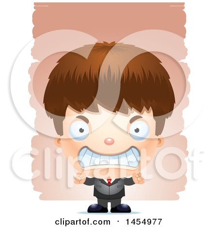 Clipart Graphic of a 3d Mad White Business Boy Against Strokes - Royalty Free Vector Illustration by Cory Thoman