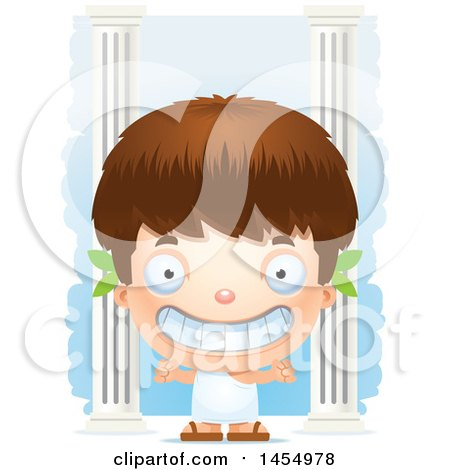 Clipart Graphic of a 3d Grinning White Greek Boy with Columns - Royalty Free Vector Illustration by Cory Thoman