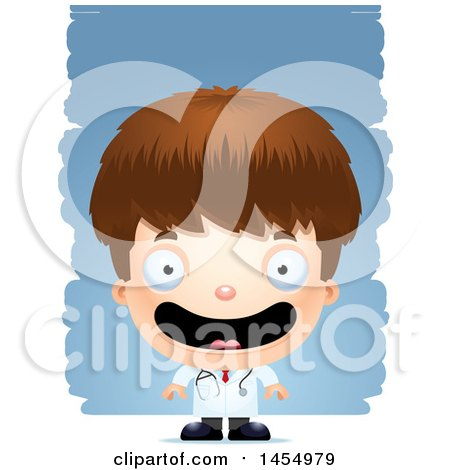 Clipart Graphic of a 3d Happy White Boy Doctor Surgeon over Strokes - Royalty Free Vector Illustration by Cory Thoman