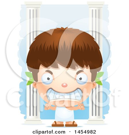 Clipart Graphic of a 3d Mad White Greek Boy with Columns - Royalty Free Vector Illustration by Cory Thoman