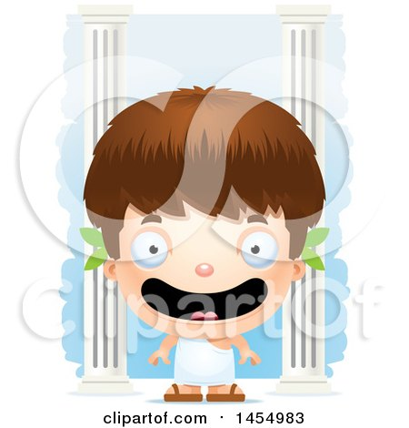 Clipart Graphic of a 3d Happy White Greek Boy with Columns - Royalty Free Vector Illustration by Cory Thoman