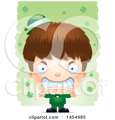 Clipart Graphic of a 3d Mad White Irish Boy over St Patricks Day Shamrocks - Royalty Free Vector Illustration by Cory Thoman