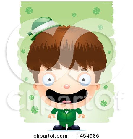 Clipart Graphic of a 3d Happy White Irish Boy over St Patricks Day Shamrocks - Royalty Free Vector Illustration by Cory Thoman