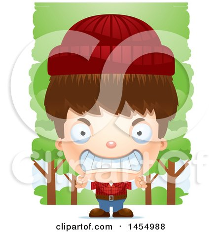 Clipart Graphic of a 3d Mad White Lumberjack Boy in the Woods - Royalty Free Vector Illustration by Cory Thoman