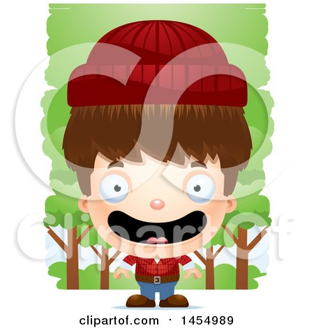 Clipart Graphic of a 3d Happy White Lumberjack Boy in the Woods - Royalty Free Vector Illustration by Cory Thoman