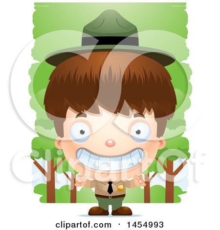 Clipart Graphic of a 3d Grinning White Park Ranger Boy in the Woods - Royalty Free Vector Illustration by Cory Thoman