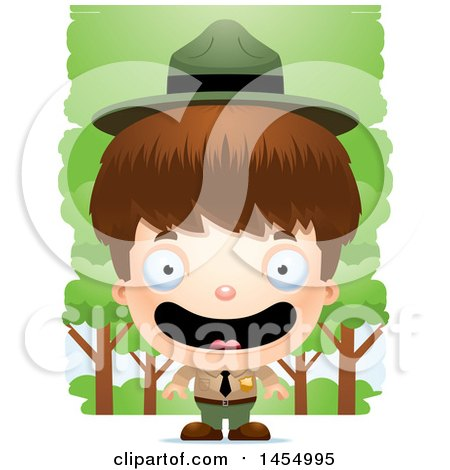 Clipart Graphic of a 3d Happy White Park Ranger Boy in the Woods - Royalty Free Vector Illustration by Cory Thoman