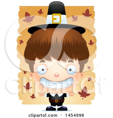 Clipart Graphic of a 3d Grinning White Pilgrim Boy over Leaves - Royalty Free Vector Illustration by Cory Thoman