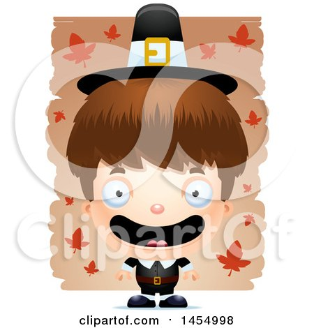 Clipart Graphic of a 3d Mad White Pilgrim Boy over Leaves - Royalty Free Vector Illustration by Cory Thoman