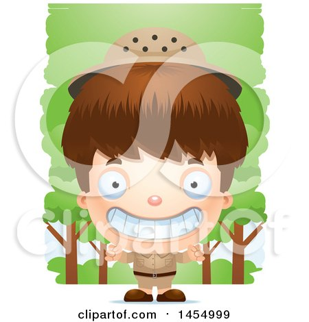 Clipart Graphic of a 3d Grinning White Safari Boy Against Trees - Royalty Free Vector Illustration by Cory Thoman