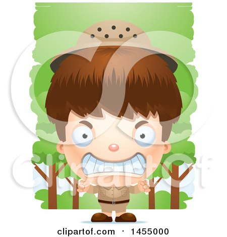 Clipart Graphic of a 3d Mad White Safari Boy Against Trees - Royalty Free Vector Illustration by Cory Thoman