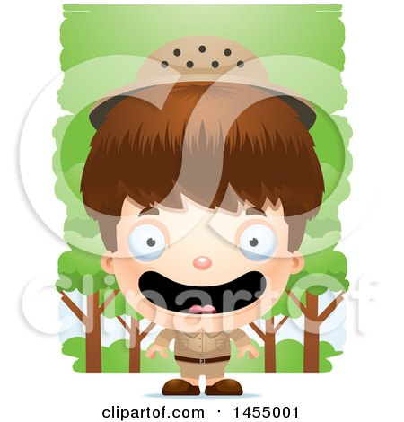 Clipart Graphic of a 3d Happy White Safari Boy Against Trees - Royalty Free Vector Illustration by Cory Thoman