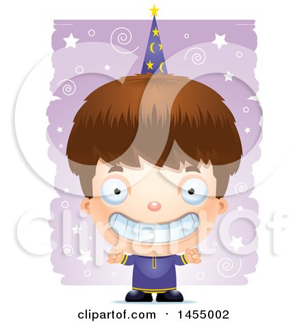 Clipart Graphic of a 3d Grinning White Wizard Boy over a Spiral and Star Pattern - Royalty Free Vector Illustration by Cory Thoman