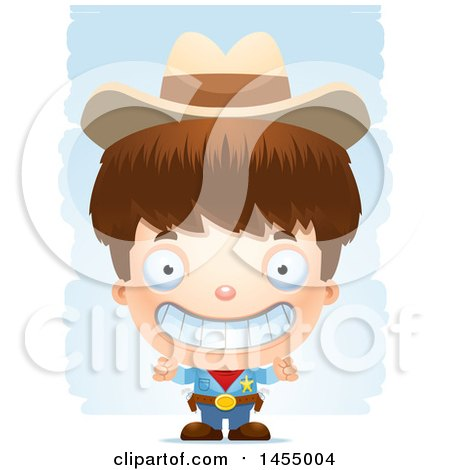 Clipart Graphic of a 3d Grinning White Boy Cowboy Sheriff over Strokes - Royalty Free Vector Illustration by Cory Thoman