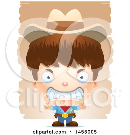 Clipart Graphic of a 3d Mad White Boy Cowboy Sheriff over Strokes - Royalty Free Vector Illustration by Cory Thoman