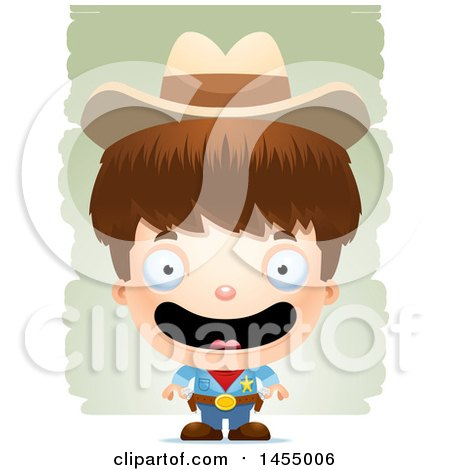 Clipart Graphic of a 3d Happy White Boy Cowboy Sheriff over Strokes - Royalty Free Vector Illustration by Cory Thoman