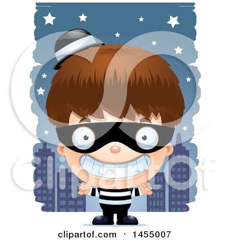 Clipart Graphic of a 3d Grinning White Robber Boy Against a City at Night - Royalty Free Vector Illustration by Cory Thoman