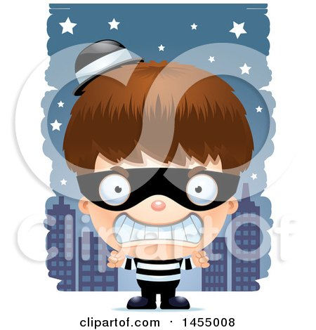Clipart Graphic of a 3d Mad White Robber Boy Against a City at Night - Royalty Free Vector Illustration by Cory Thoman