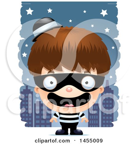 Clipart Graphic of a 3d Happy White Robber Boy Against a City at Night - Royalty Free Vector Illustration by Cory Thoman