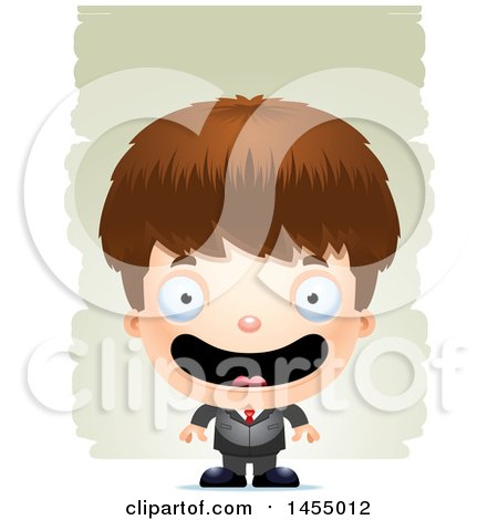 Clipart Graphic of a 3d Happy White Business Boy Against Strokes - Royalty Free Vector Illustration by Cory Thoman