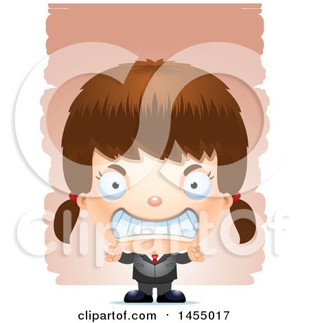 Clipart Graphic of a 3d Mad White Business Girl Against Strokes - Royalty Free Vector Illustration by Cory Thoman