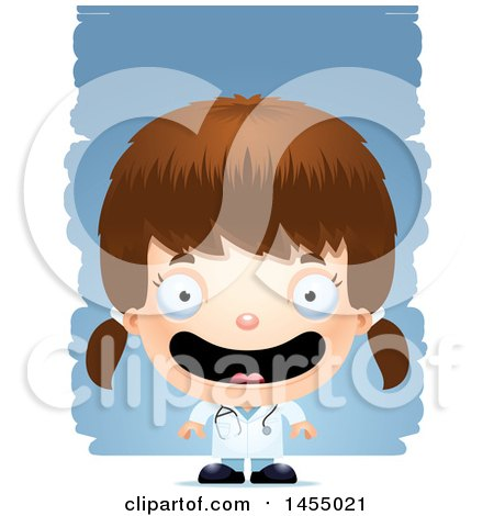 Clipart Graphic of a 3d Happy White Girl Doctor Surgeon over Strokes - Royalty Free Vector Illustration by Cory Thoman