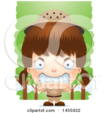 Clipart Graphic of a 3d Mad White Safari Girl Against Trees - Royalty Free Vector Illustration by Cory Thoman
