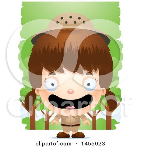 Clipart Graphic of a 3d Happy White Safari Girl Against Trees - Royalty Free Vector Illustration by Cory Thoman