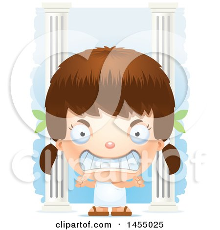 Clipart Graphic of a 3d Mad White Greek Girl with Columns - Royalty Free Vector Illustration by Cory Thoman