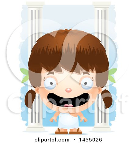Clipart Graphic of a 3d Happy White Greek Girl with Columns - Royalty Free Vector Illustration by Cory Thoman