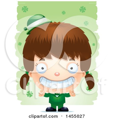 Clipart Graphic of a 3d Grinning White Irish Girl over St Patricks Day Shamrocks - Royalty Free Vector Illustration by Cory Thoman