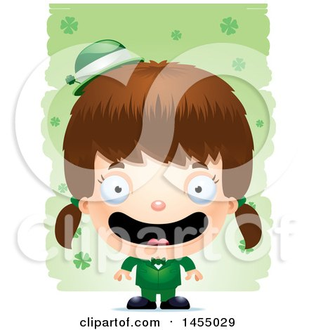 Clipart Graphic of a 3d Happy White Irish Girl over St Patricks Day Shamrocks - Royalty Free Vector Illustration by Cory Thoman