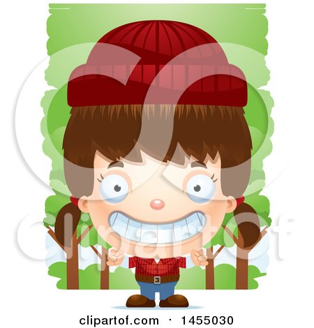 Clipart Graphic of a 3d Grinning White Lumberjack Girl in the Woods - Royalty Free Vector Illustration by Cory Thoman
